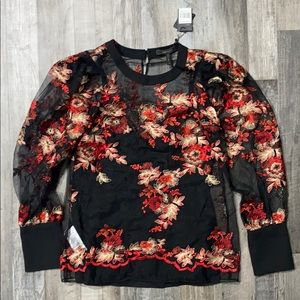 BCBG MaxAzria Women's Floral Embroidered Top